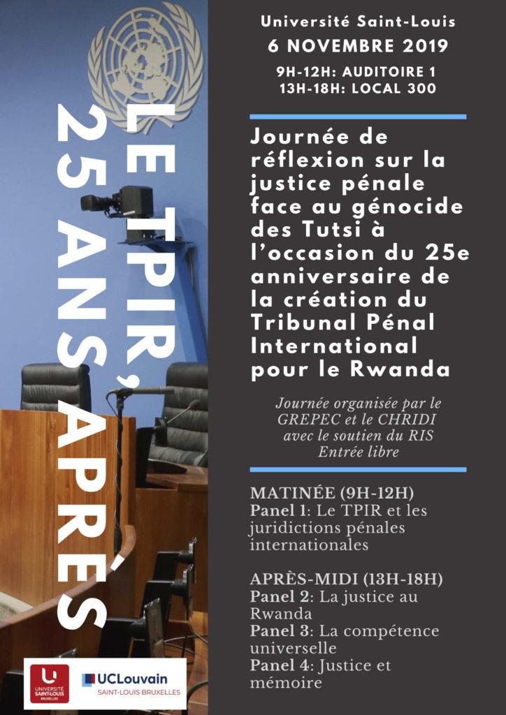 Journée de réflexion sur la justice pénale internationale à l'occasion du 25ème anniversaire du TPIR